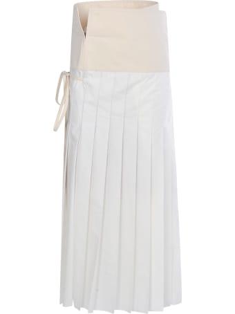 Moncler Genius Pleated Long Side Tie Detail Skirt