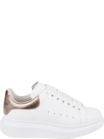 Alexander McQueen Woman White And Metallic Pink Oversize Sneakers