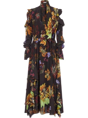 Off-White Printed Chiffon Silk Long Dress