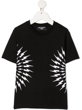 Neil Barrett Kid Black And White Fair-isle Thunderbolt T-shirt