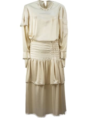 Lanvin Ecru Silk And Linen Blend Dress