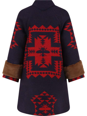 Gucci Blue Coat For Girl With Red Ethnic Designs