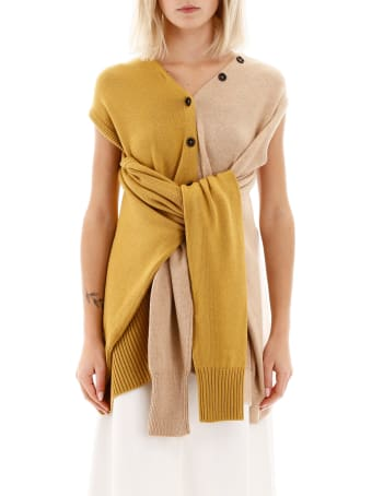 Marni Bicolor Knit With Self-tie Sleeves