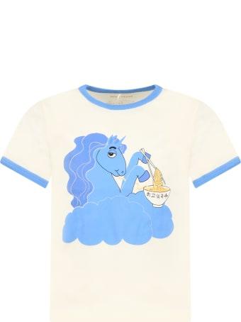 Mini Rodini Ivory T-shirt For Girl With Unicorn
