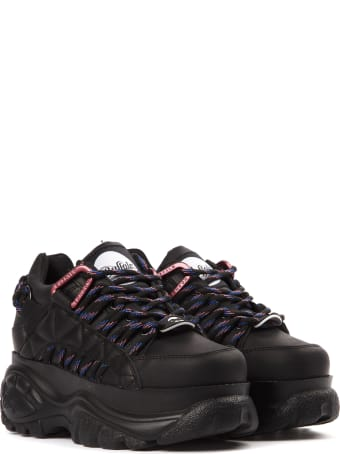 Buffalo Black Leather Contrasting Laces Sneaker
