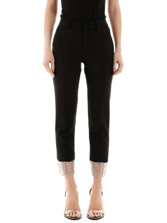 AREA Cropped Pants With Crystals