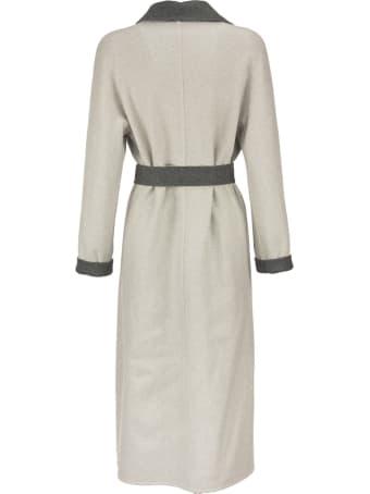 Loro Piana Kerrin Coat With Belt Silver Grey
