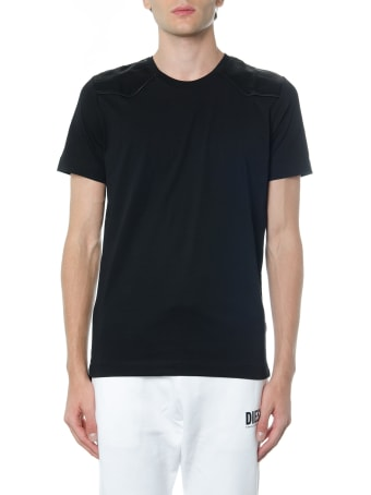 Diesel Black Gold Black Cotton T Shirt With Shoulders Detail