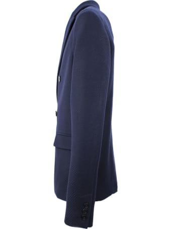 Hosio Blue Wool Double-breasted Blazer