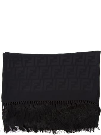 Fendi Black Silk Shawl With Monogram