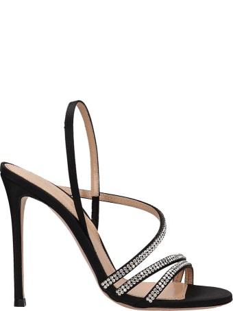 Lerre Black Satin Sandals