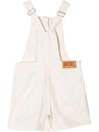Diesel White Teen Dungarees