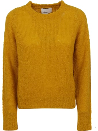 3.1 Phillip Lim Boucle Wool Inset Shoulder High Low Pullover