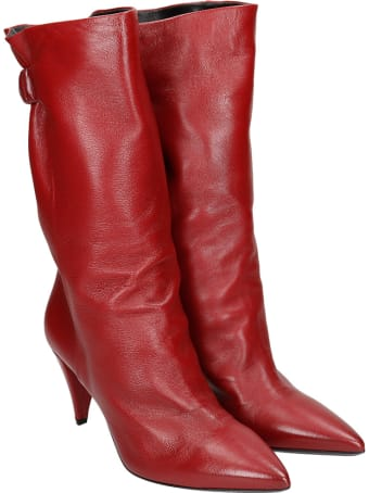 Strategia High Heels Ankle Boots In Red Leather