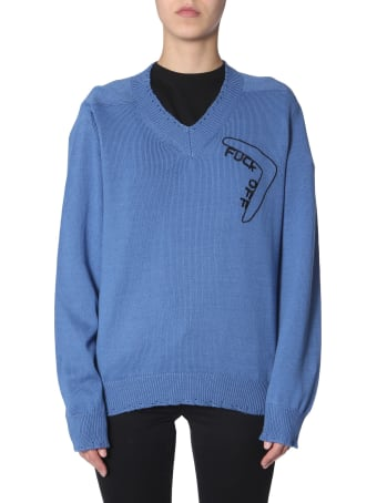 Riccardo Comi Sweater With  Fuck Off  Embroidery