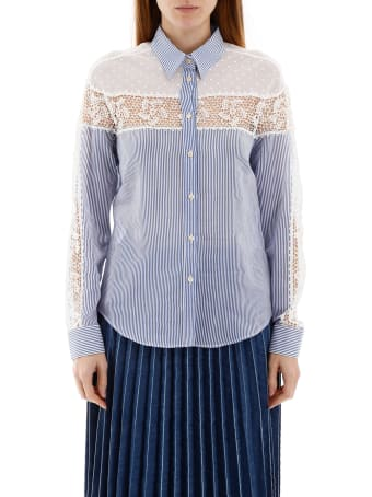 RED Valentino Shirt With Lace And Plumetis Insert