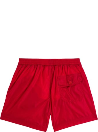 Moncler Red Swim Shorts With Logo Patch