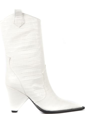 Aldo Castagna Black Cocodrile Effect Leather Boots