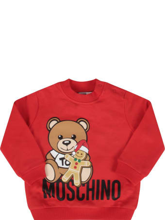 Moschino Red Sweatshirt With Teddy Bear And Marzipan Biscuit For Baby Girl