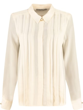 Alessandra Rich Silk Shirt With Pleated Details