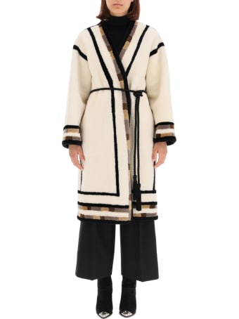 Blancha Reversible Shearling Coat With Inserts