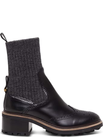 Chloé Franne Sock Effect Boots In Matte Leather
