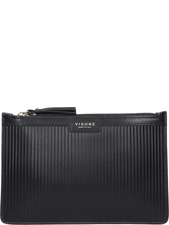 Visone Kim Striato Clutch In Black Leather
