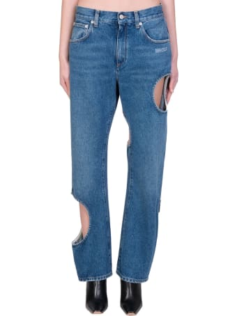 Off-White Hole Baggy Jeans In Blue Denim