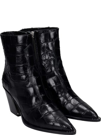 Kate Cate High Heels Ankle Boots In Black Leather