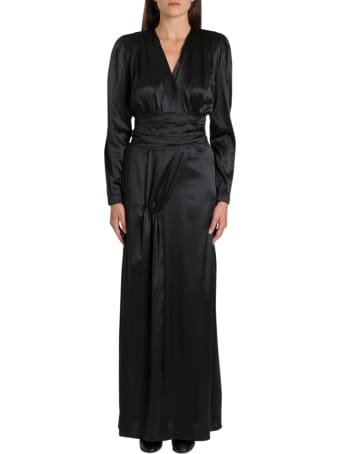 Federica Tosi Long Silk Satin Dress With Sash On Waist