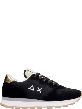 Sun 68 Ally Thin Sneakers In Black Glitter