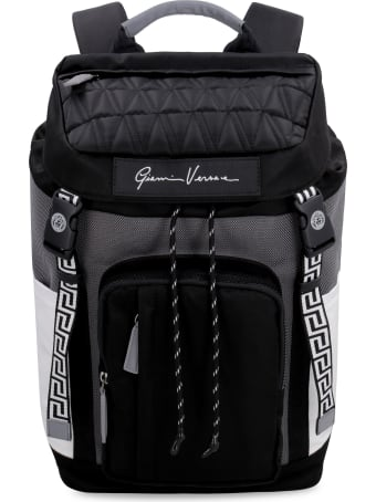 Versace Leather Details Nylon Backpack