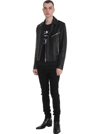 Balmain Leather Jacket In Black Leather