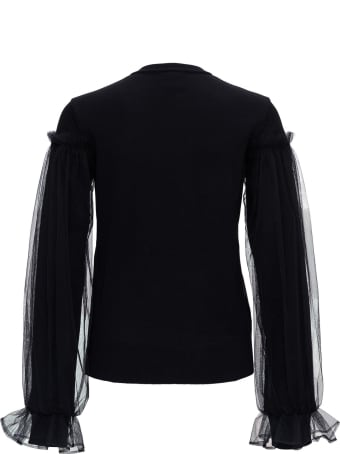 Noir Kei Ninomiya Wool Cardigan With Tulle Sleeves