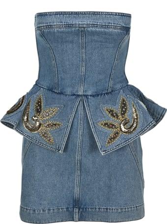 Philosophy di Lorenzo Serafini Philosophy Embellished Bustier Denim Mini Dress