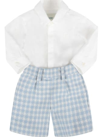 Fendi White And Light Blue Babygrow With Double Ff For Baby Boy