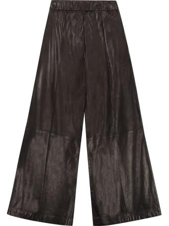 SPRWMN Leather Wide-leg Trousers