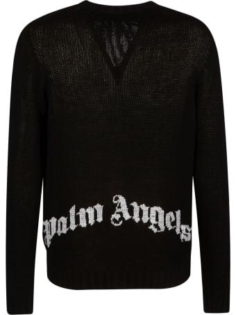 Palm Angels Wings Knit Boxy Crewneck Sweatshirt