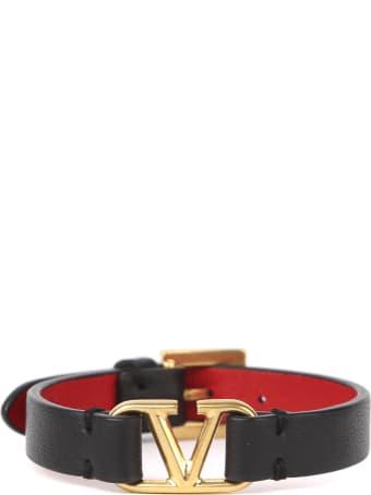 Valentino Garavani Leather Bracelet With Metal Logo
