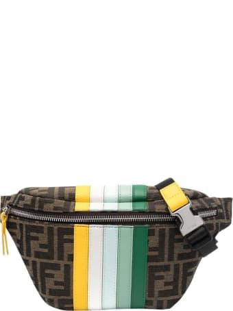 Fendi Ff Striped Belt Bag With Logo