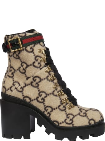 Gucci Buckled Detail Ankle Boots