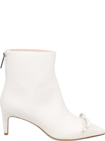 RED Valentino Milk Color Leather Ankle Boot