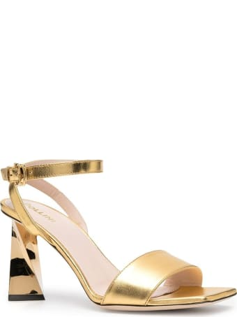 Pollini Laminated Leather Sandals And Sculpted Heel