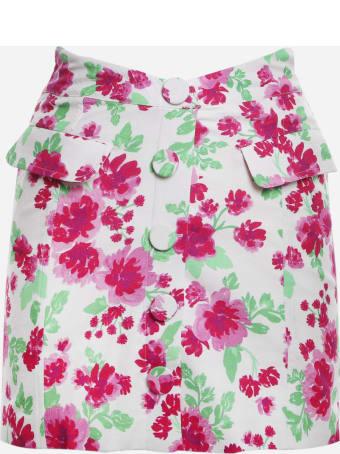 For Love & Lemons Stretch Linen Janelle Skirt With Floral Print