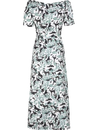 Saloni Eva Printed Silk Dress