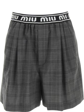 Miu Miu Prince Of Wales Shorts With Logo