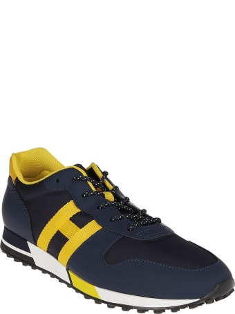 Hogan Blue And Yellow Leather H383 Sneakers