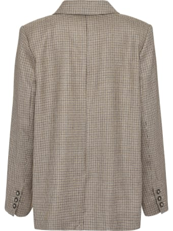 A.P.C. Prune Checked Double-breasted Blazer