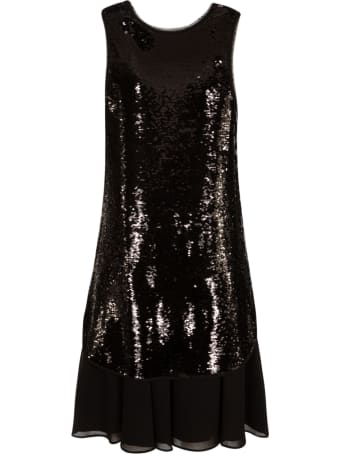 Emporio Armani Sequin-coated Mid-length Dress