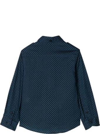 Brunello Cucinelli Blue Teen Shirt With Curved Hem